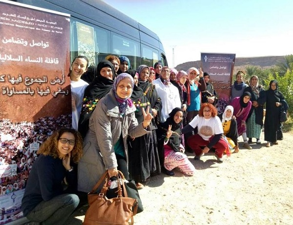 Soulaliyate Movement members on a bus journey in Morocco to advocate for women's political participation and land rights