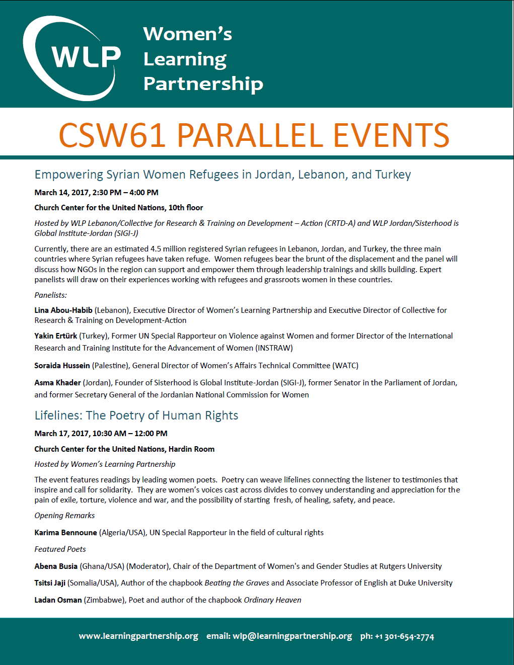 Lifelines parallel event CSW 61
