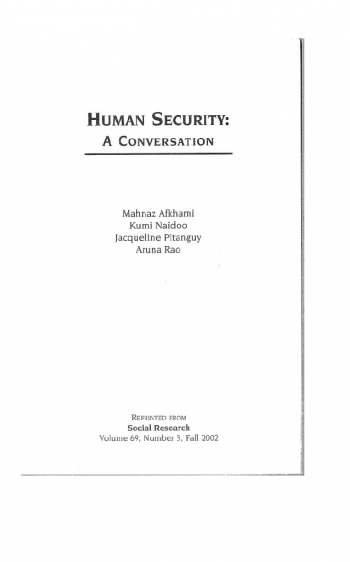 Human Security A Conversation cover